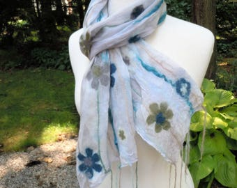 Sheer pale blue grey nuno felted scarf with floral pattern