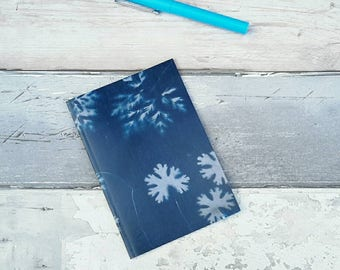 Leaf design A6 notebook, plain paper, jotter, plants, cyanotype, natural, botanical,  gardening, notepad, navy, textile print