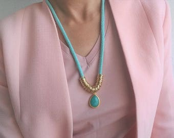 Rope Necklace, Mint rope Necklace, Statement Necklace ,Mint and Gold Necklace, Jade Gemstone Necklace, Bold necklace