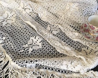 Antique Victorian Heavy White Cotton Crocheted Lace Drape Curtain Panel with Fringe