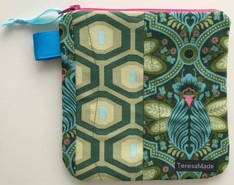Small Green Patchwork Zip Pouch