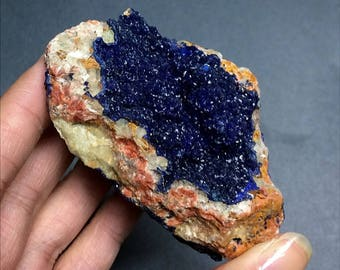 Azurite Druzy Raw Unpolished Mineral on Matrix Medium-Large Crystal Cluster