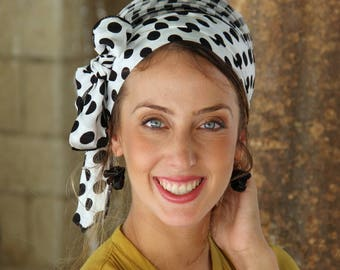 TieTie Black/White Headscarf TICHEL, Hair Snood, Head Scarf, Head Covering, Jewish Headcovering, Scarf, Bandana, Apron