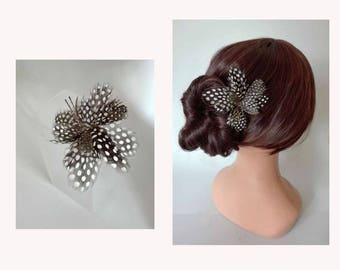 Woodpecker feather Federscmuck hairs pins, hair flower, hair clip hair