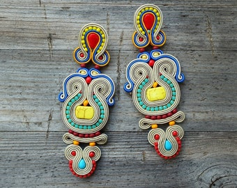 Qsambara- Large and spectacular earrings soutache, orecchini soutache,Boucles d'oreilles soutache, etnic