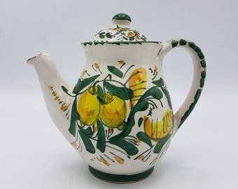 Sicilian ceramic coffee maker hand decorated. Ceramic tableware. Ketty Messina pottery.