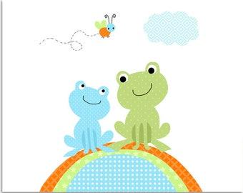Frog Nursery Art, Baby Boy Nursery, Nursery Wall Art, Frog Art Print, Nursery Art Print, Pond Nursery Art, Baby Boy Decor, Baby Room Decor