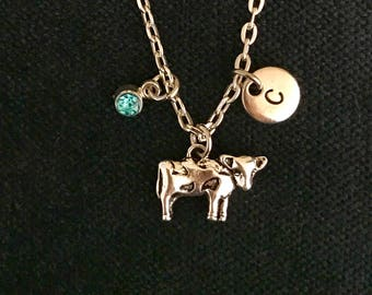 Personalized Cow Necklace Personalized Cow Jewelry