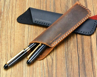 Pen holder, leather, black + brown