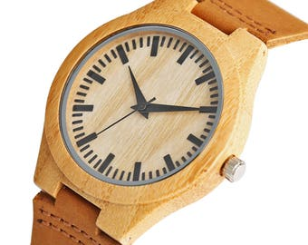 Wooden watch,  ladies watch in natural wood with casual leather