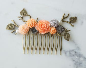 Hair comb, coral, peach, and grey pearl and bronze hair comb