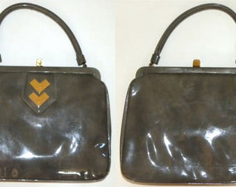1950s 60's Crown Lewis Purse / Swanky Patent Handbag / Classic Gray Marbled Vinyl / Gold Accents / Vintage 1960s 50s
