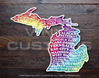 Michigan Cities Vinyl Decal Sticker v4