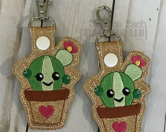 Cactus Keychain, Cactus Embroidered Key Chain, Snap Tab, Bag Tag, Keychain, Cactus Key Chain, Embroidered Cactus Keychains, Zipper Pull