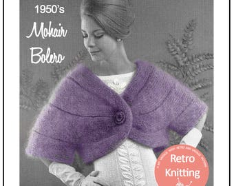 1950's Mohair Cape Stole Knitting Pattern  - PDF Instant Download - PDF Cape knitting Pattern - PDF Knitting Pattern