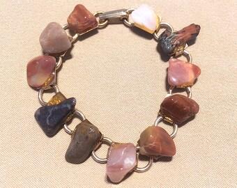 Vintage 50's Rust Tumbled Stone Bracelet, Southwestern Rock Hound Polished Agate Link Bracelet Gold Tone, Tumbled Stone Bracelet Geology
