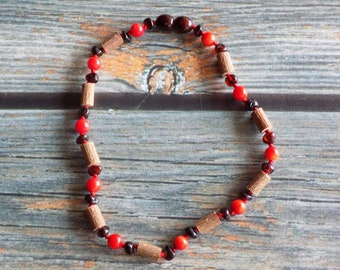 10.5 Inch Colic Relief Hazelwood and Baltic Amber Necklace Knotted on Silk