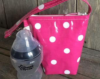 Insulated baby bottle bag,thermal bag, bottle warmer in bright pink and white spotty oilcloth