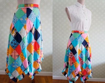 Patchwork Vintage skirt 70s. Medium size boho 70s asymmetrical hem skirt