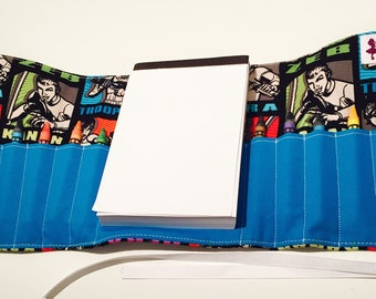Space Heroes Themed Crayon Roll with Doodle pad
