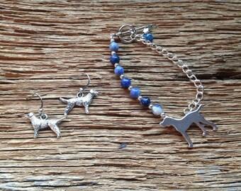 Deutsch Drahthaar earrings and bracelet set: wire haired pointer earrings and bracelet, pointing dog jewelry, bird dog bracelet, sport dog