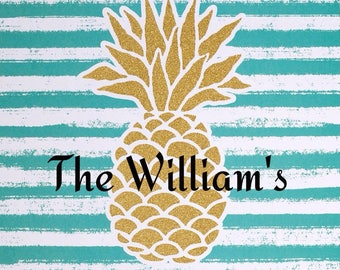 "Glitter pineapple 12x12"" personalized decor, custom beach art with name or initials, pineapple art, pineapple with initials, new home gift"