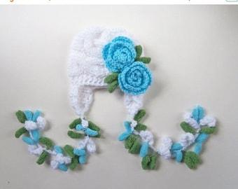 ON SALE 10% SALE Newborn Baby Girl Hat , Knit Baby Girl Hat , Baby Hat Photo Prop , Knit Baby Hat , Crochet Flower Hat ,Photo Prop