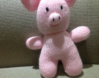 Hand knitted pink pig