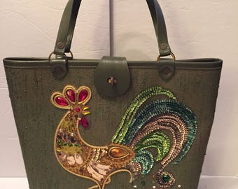 Vintage Enid Collins Style Jeweled Rooster Purse