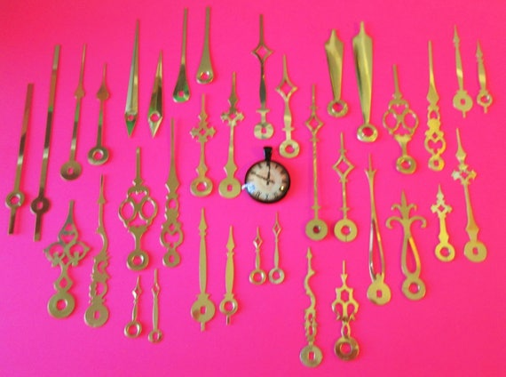 18 Pairs of Assorted New Shiny Brass Plated Steel Clock Hands for your Clock Projects, Jewelry Making, Steampunk Art and Etc...