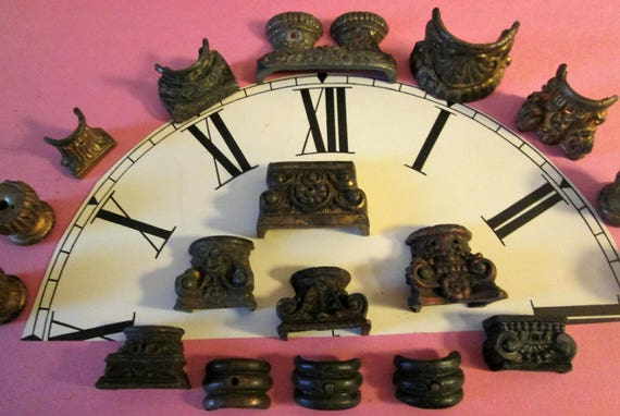 18 Assorted Antique Cast Metal Mantle Clock Feet for your Clock Projects - Steampunk Art - Metalwork