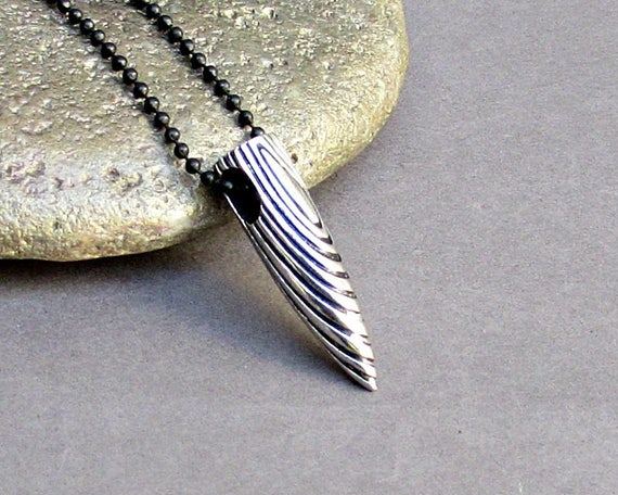 Men's Bullet Necklace Men's Stainless Steel Necklace With Chain Men's Silver Necklace Mens Jewelry