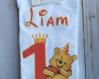 Winnie the Pooh First Birthday, Pooh Birthday Onesie, Pooh Birthday Shirt, Winnie The Pooh Birthday, Any age/name
