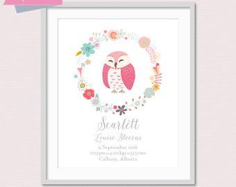 Birth Announcement, Owl Nursery, New Baby Gift, Woodland Name Art, Woodland Birth Stats, Baby Stats Wall Art, Baby Birth Details