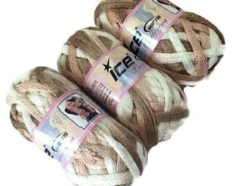 3 Ice Yarns Ballerina Pink White Camel Bulky Ruffle Scarf Yarn 21340