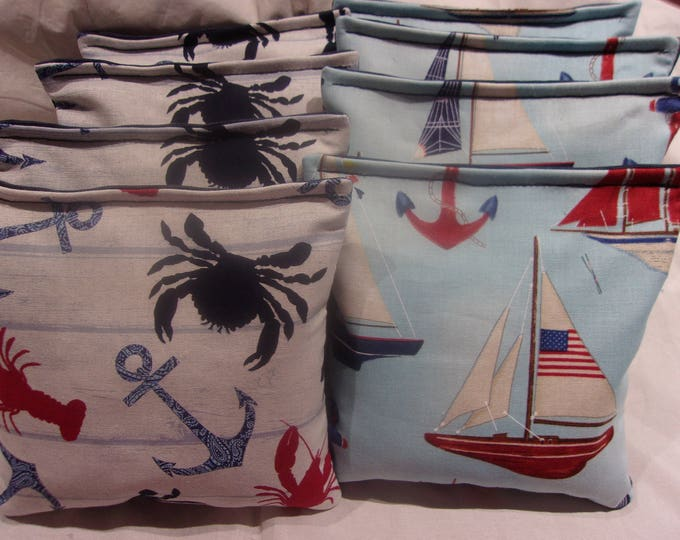 8 ACA Regulation Cornhole Bags - Ocean Lobsters and Crabs  & Sailboats and Anchors