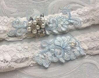 "Blue Lace Wedding Garter Set, Something Blue Bridal Garter Set, Blue Wedding Garters, Blue Garters w/ Pearls & Crystals, ""Aylee"" Garter Set"
