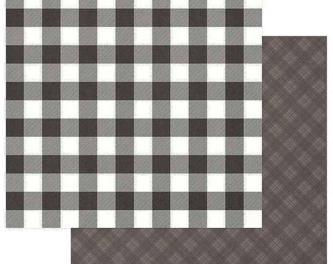 2 Sheets of Photo Play Paper MAD 4 PLAID CHRISTMAS 12x12 Scrapbook Cardstock - Buffalo Check Grey/White