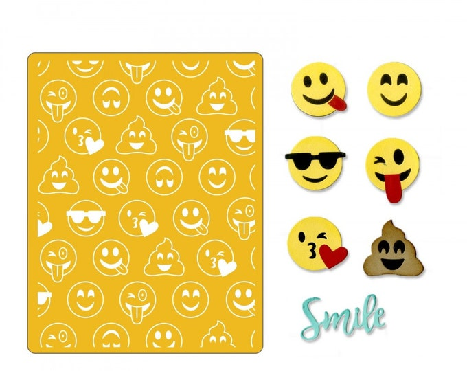 Will ship March 20th - Sizzix Tim Holtz Thinlits Die Set 10PK w/Textured Impressions - Smile Emojis 662754