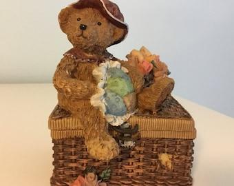 Vintage Trinket Box Teddy Bear Trinket Box Teddy Bear collectible