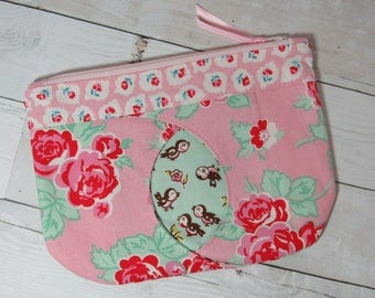 "Floral / Birds Clutch / Purse with Peekaboo ""Cat Eye"", Pouch, Zipper Bag, Cosmetics Bag, Pink, Red, Green, Roses, Bird, Flowers, Spring"