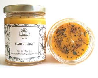 Road Opener Soy Spell Candle with Herbs & Essential Oils Hoodoo Voodoo Wiccan Pagan