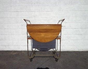 Mid Century Brass Tea Cart Vintage MCM Bar Wood Serving Rustic Industrial Antique Retro Rolling Table Portable Liquor Wine Spirits Regency