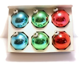 """SALE 2.24"""" MULTI COLOR West Germany Christmas Ornaments, Set of 6 Boxed"""