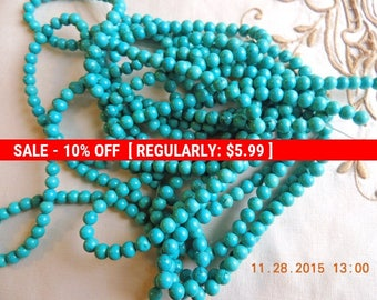 Turquoise 6 mm round beads for making necklaces, bracelets, earrings, Mala etc.