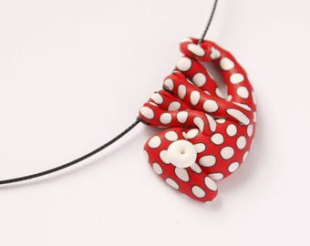 Hand made polymer clay cute RED-WHITE polka dot chameleon pendant