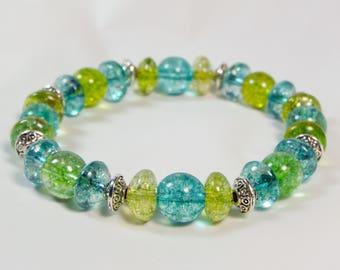 "Cynthia Lynn ""TURMALI PUNCH"" Indicolite Blue & Lime Green Tourmaline Gemstone Silver Stretch Bracelet"