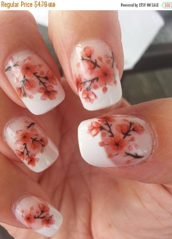 On sale 33 cherry blossoms nail art cbl waterslide transfers like this item prinsesfo Gallery