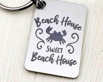 Laser engraved Beach House Sweet Beach House Key Chain, summer, fun in the sun, keys to the beach house, summer living, real estate