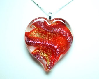 Lampworked Ribbon Stardust Art Glass Heart Pendant, Red with Gold and Silver Stardust